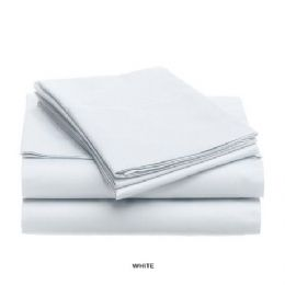 12 Units of 3 Piece Solid Sheet Set White Queen Size - Sheet Sets