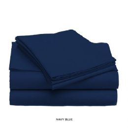 12 Units of 3 Piece Solid Sheet Set Navy Queen Size - Sheet Sets