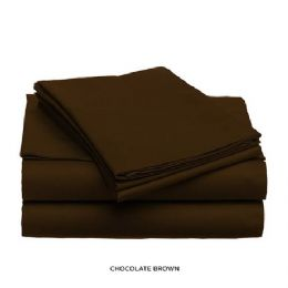 12 Units of 3 Piece Solid Sheet Set Chocolate Queen Size - Sheet Sets