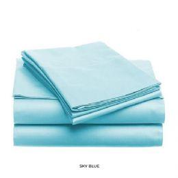 12 Units of 3 Piece Solid Sheet Set Lt. Blue King Size - Sheet Sets