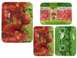 24 Units of Rectangle Tray 4 Asst Designs - Serving Trays
