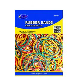 72 Bulk Rubber Bands, 1/4lbs, Assorted Sizes & Assorted Colors (3 Inners Of 24)