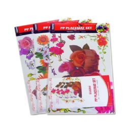72 Units of 4 Placemats+4 Coasters Big Flower - Placemats
