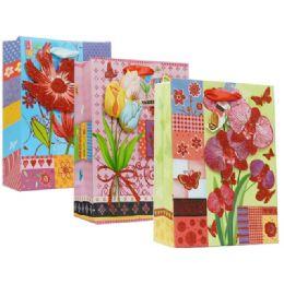 144 Units of Bag Xxlarge Floral Design - Party Favors