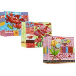 144 Units of Gift Bag Floral Design - Gift Bags Assorted