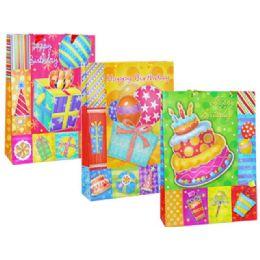 144 Units of Bag Xxl Bd Gl 44.3x32.3x10 3asst Design - Gift Bags
