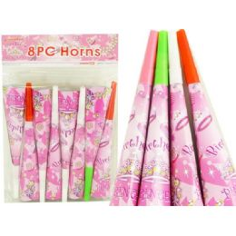 144 Units of Blowhorns 8pc Princess Design - Party Favors