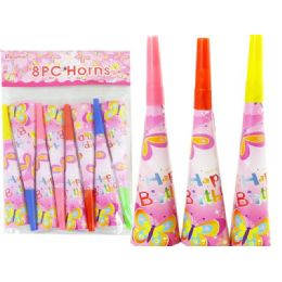 144 Units of Blowhorns 8pc Butterfly Design - Party Favors