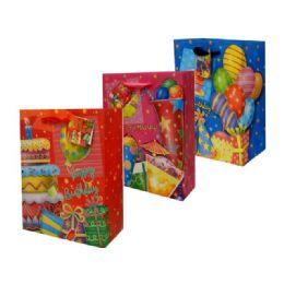 144 Units of Bag Xl Birthday W/gl 30x10.5x38.5cm - Gift Bags Assorted