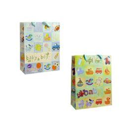 144 Units of Bag M Bb Gl 24.5x19.6x9 2asst Design - Gift Bags Baby