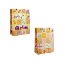 144 Units of Bag L Bb Gl 4x26x10 2asst Design - Gift Bags Baby