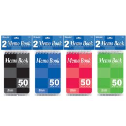 """72 Units of Bazic 50 Ct. 4"""" X 6"""" Top Bound Spiral Memo Books (2/pack) - Memo Holders and Magnets"""