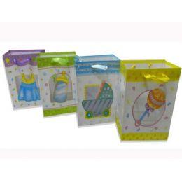 144 Units of Gift Baby Bag M W/ribbon23x18x10cm - Gift Bags Baby