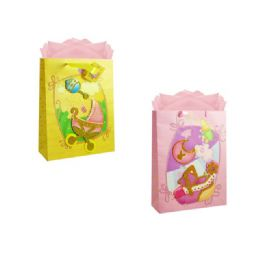 144 Units of Gift Baby Bag 3d M W/glitter 23x18x10cm - Gift Bags Baby