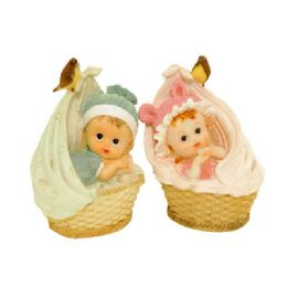 96 Units of Baby On Basket 2 Assorted Color - Home Decor