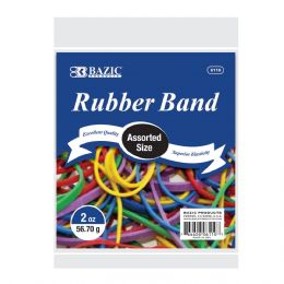 72 Bulk Bazic 2 Oz./ 56.70 G Assorted Sizes And Colors Rubber Bands