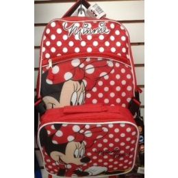 24 Units of Mini Mouse Girls Backpack With Insulated Luch Box Cooler - Licensed Backpacks