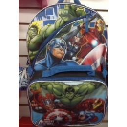 24 Units of Hulk Backpack With Insulated Lunch Box Cooler - Licensed Backpacks