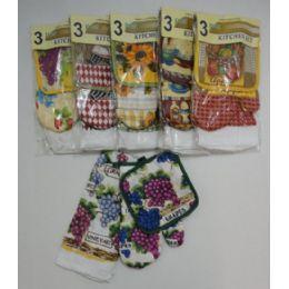 36 Units of 3 Piece Oven Mitt Pot Holder Dish Towel Combo - Kitchen Towels