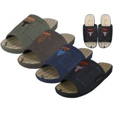 36 Units of Men Satin Open Toes Embroidery Upper House Slippers - Men's Slippers