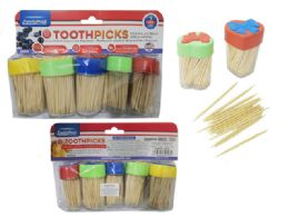 96 Units of 5 Piece Toothpicks With Dispensers - Toothpicks