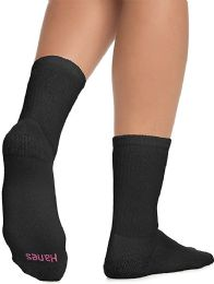 Hanes Crew Sock For Woman Shoe Size 4-10 Black - Samples