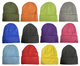Wholesale Yacht & Smith Unisex Stretch Colorful Winter Warm Knit Beanie Hats, Many Colors