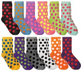 Wholesale Yacht & Smith Womens Polka Dot Crew Socks Size 9-11