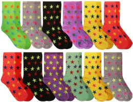 Wholesale Yacht & Smith Womens Star Print Neon Crew Socks Size 9-11