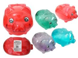 48 Units of Piggy Bang Clear Assorted Color - Coin Holders & Banks