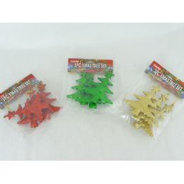 96 Units of 3pc Xmas Tree Ornament 4 Assorted Colors - Christmas Ornament