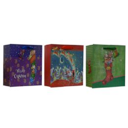 96 Units of Large Glitter Xmas Gift Bag - Christmas Gift Bags and Boxes