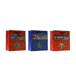 144 Units of Christmas Wide Sized Gift Bag Assorted Design - Christmas Gift Bags and Boxes