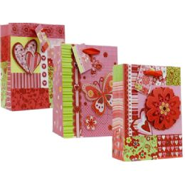 144 Units of Valentine Assorted Printed Xl Gift Bags - Valentine Gift Bag's