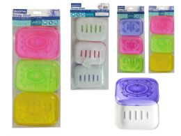 48 Units of 3 Piece Rectangle Soap Dish Holder - Soap Dishes & Soap Dispensers