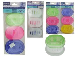 48 Units of 3 Piece Oval Soap Dish Holder - Soap Dishes & Soap Dispensers