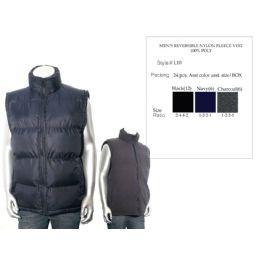 24 of Mens Reversible Nylon Fleece Vest 100% Poly