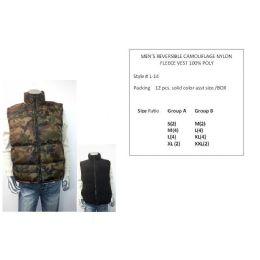 12 of Mens Reversible Camouflage Nylon Fleece Vest 100% Poly