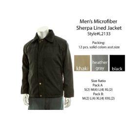 12 Units of Mens Microfiber Sherpa Lined Winter Jacket - Men's Winter Jackets