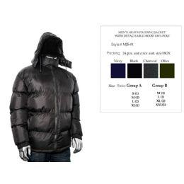 24 Units of Mens Heavy Padding Jacket With Detachable Hood 100% Poly - Men's Winter Jackets