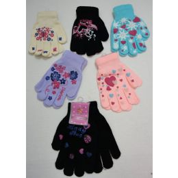 48 of Girls Printed Winter Gloves