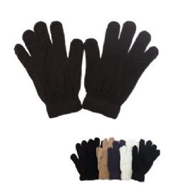 60 Units of Mens Magic Gloves Assorted Colors - Knitted Stretch Gloves
