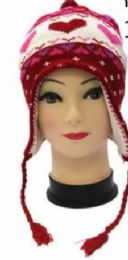 36 Bulk Kids Heart Printed Helmet Winter Hat With Ear Flap And Fleece Lining