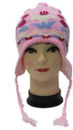 72 Bulk Kids Flower Printed Helmet Winter Hat