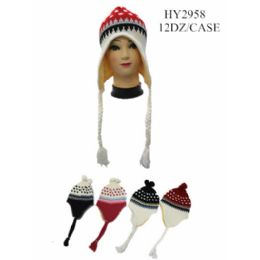 36 Bulk Printed Winter Helmet Hats