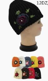 72 Bulk Womens Knitted Beanie With Chunky Flower Accent