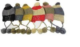 72 Bulk Winter Hats Adult Knit Ear Flap Hat With Pom Pom