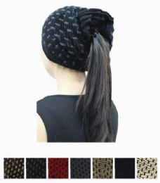 36 Units of Ladies Winter Ponytail Hat - Winter Hats
