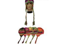 72 Bulk Ladies Neon Multicolored Winter Helmet Hat