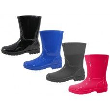 24 of Children's Water Proof Plain Rubber Rain Boots